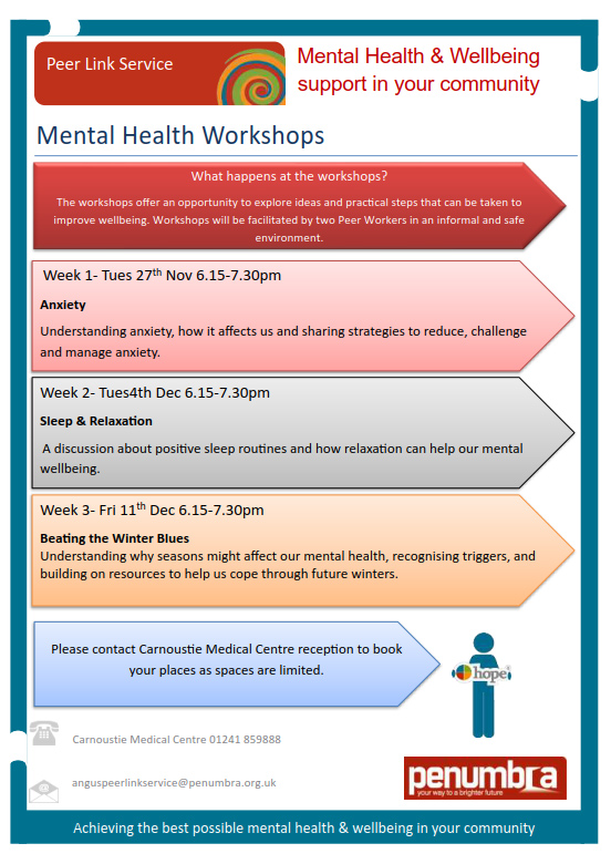 Mental Health Workshops Peer Link Poster